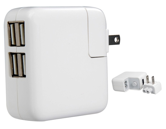 USB Charger (Wall) 20W 4-Port for iPad / iPhone / iPod