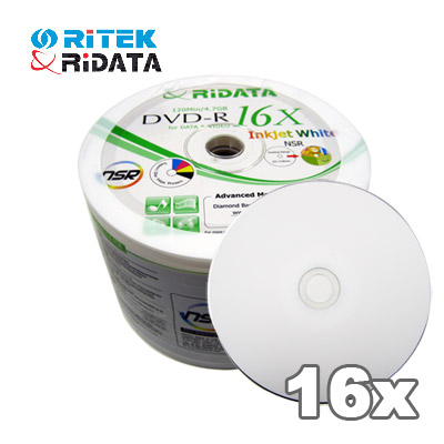 Ridata 16X Blank DVD-R 50 Pcs. Spindle Inkjet Printable