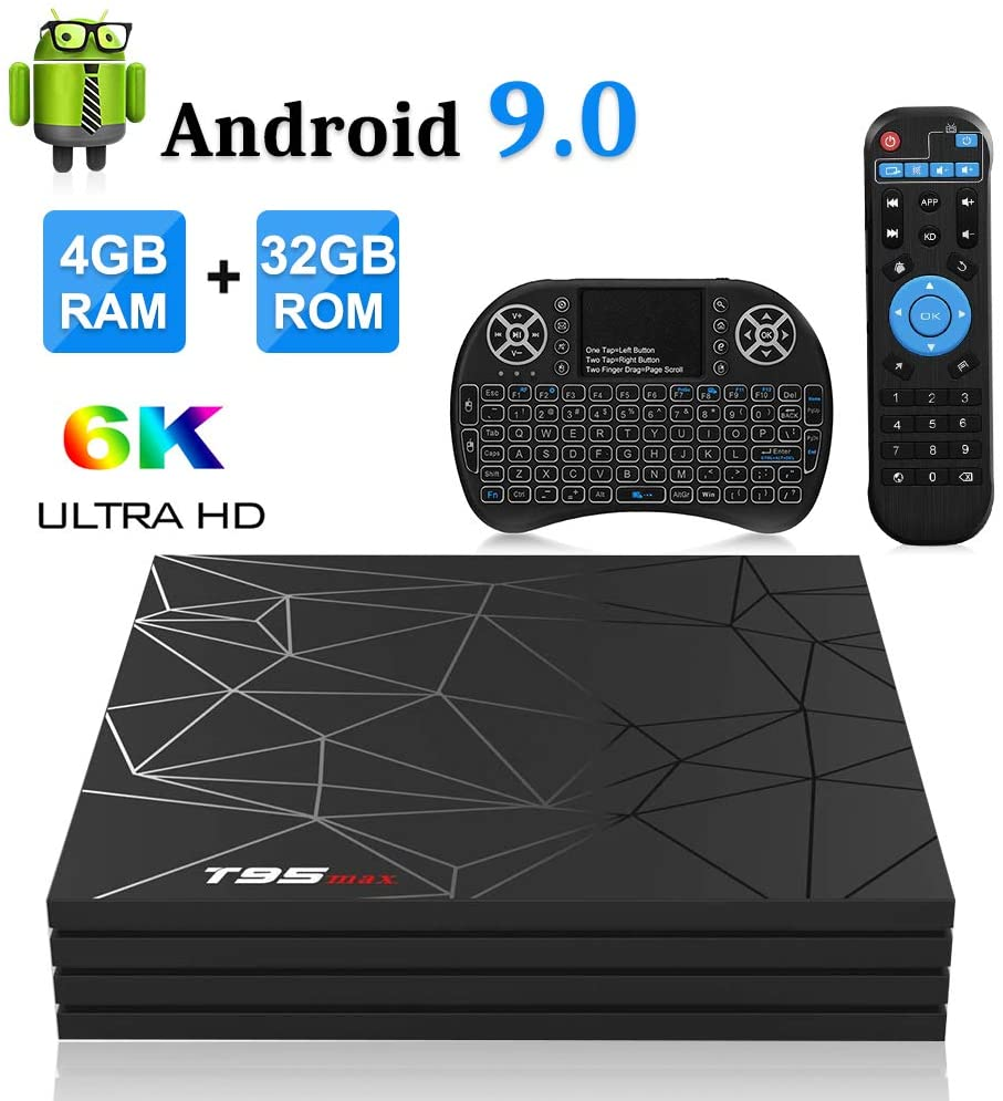 T95 Max TV Box H6 CPU 4GB Ram 32GB ROM Android 9 6K Wireless KB