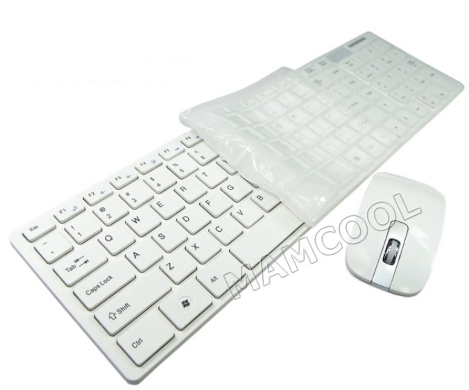 Ultra Thin Wireless Keyboard & Mouse with Keyboard Cover White