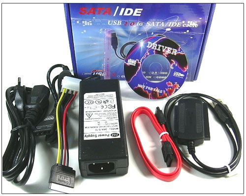 "USB 2.0 To IDE (2.5"" / 3.5"") + SATA Cable with Power Adapter"